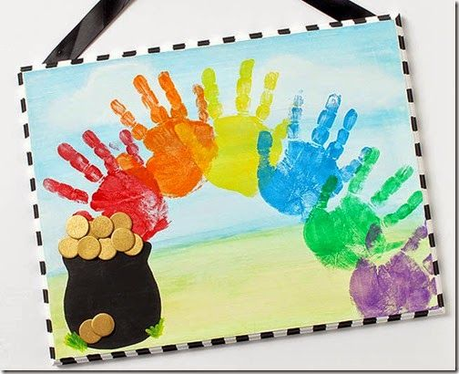 St. Patrick's Day Handprint Rainbow Art