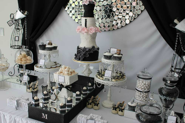 Black White and Silver Dessert Table