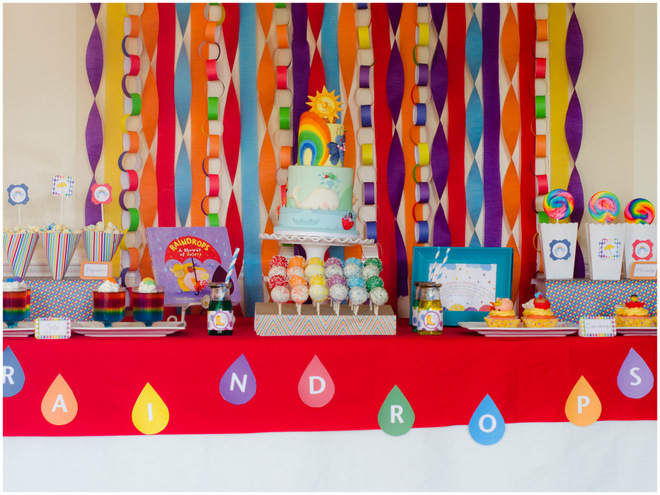 Colorful Raindrops Book Party Dessert Table