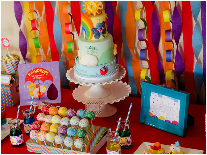 Colorful Raindrops Book Party Desserts