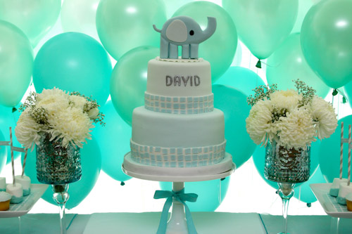 Elephant Themed Baptism Cake