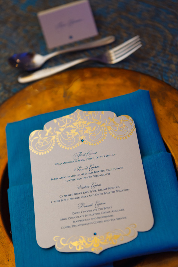 Blue and gold wedding menu