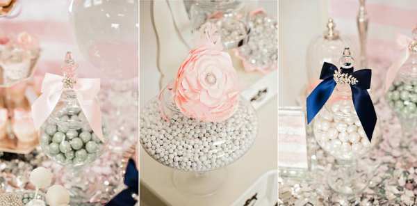 Pink, White and Silver Candy Buffet