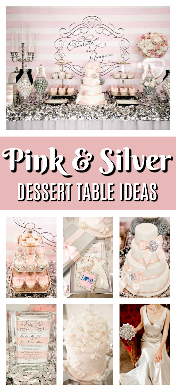 Pink and Silver Dessert Table Ideas on Pretty My Party
