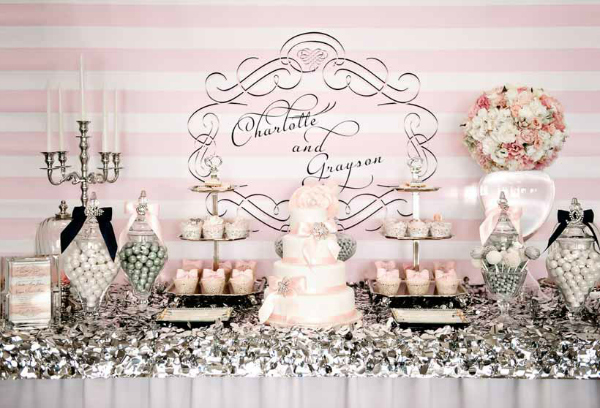 Pink and Silver Wedding Dessert Table
