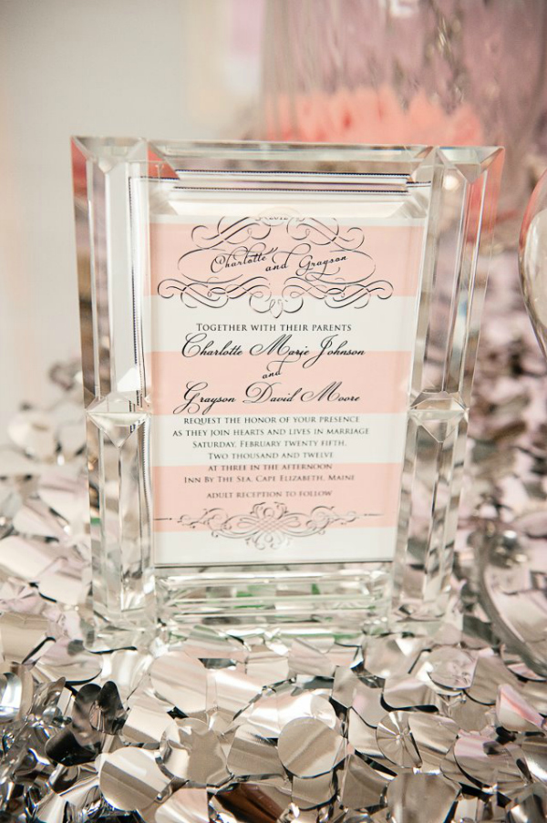 Pink, White and Silver Wedding Invite
