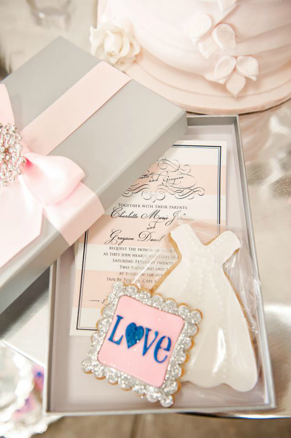 Pink and Silver Wedding Invitation with Cookies