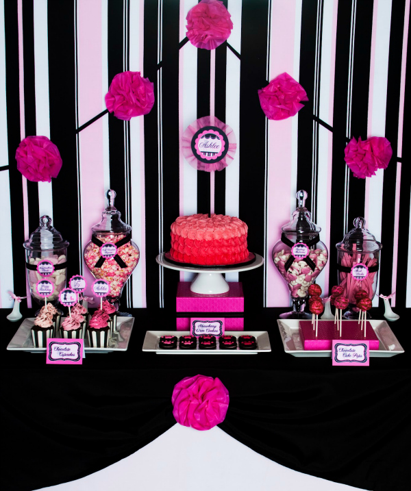 Pink Poodle Party Dessert Table