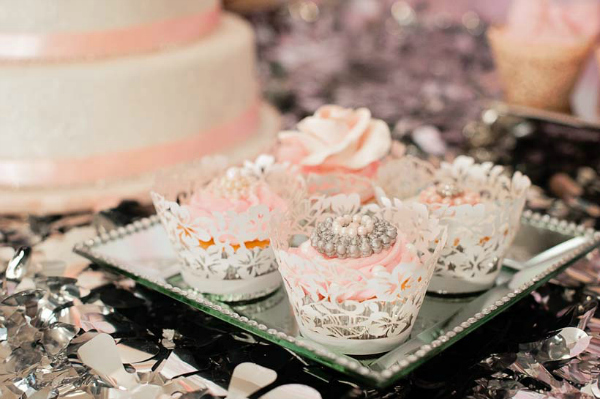 Pink Cupcakes With Pearls and Doily Wrappers