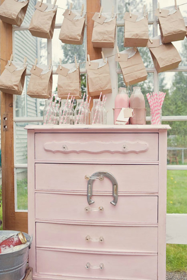 Vintage Pink Dresser With Drinks and Favors