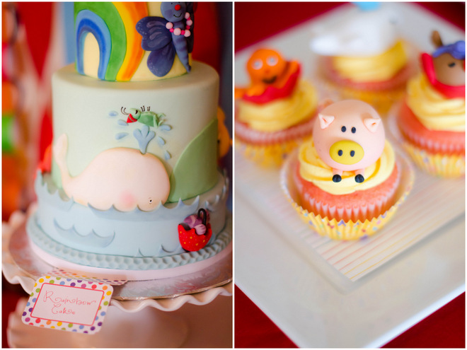 Colorful Raindrops Book Party Cake and Cupcakes