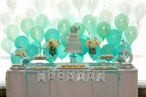 Seafoam Green Elephant Baptism Dessert Table