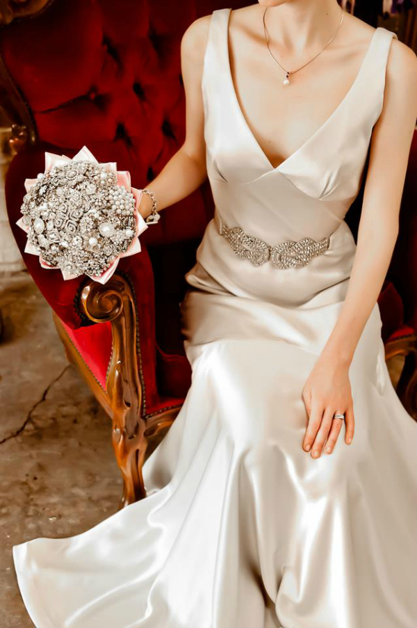 Wedding Gown and Brooch Bouquet