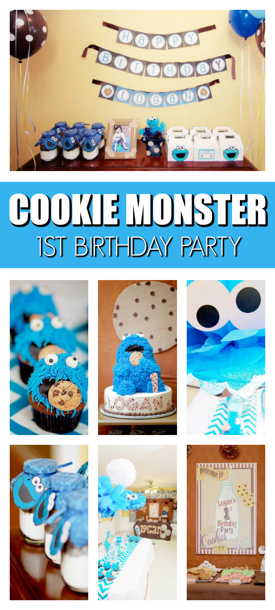 Cookies Monster 1st Birthday Party on Pretty My Party