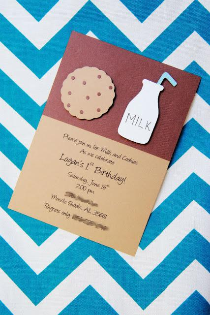 Cookie Monster Milk and Cookies Birthday Party Invitation