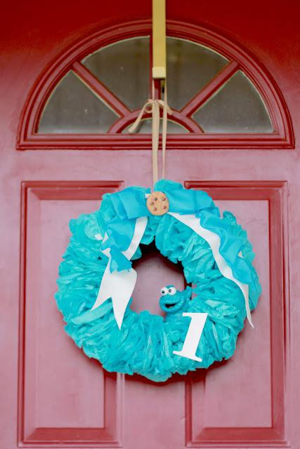 Cookie Monster Wreath Party Decoration