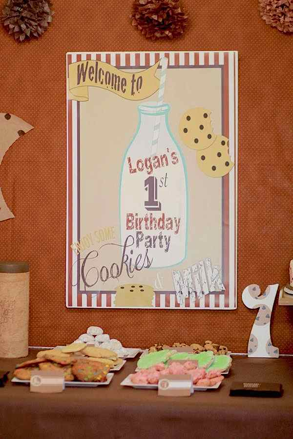 Cookies and Milk Backdrop Sign