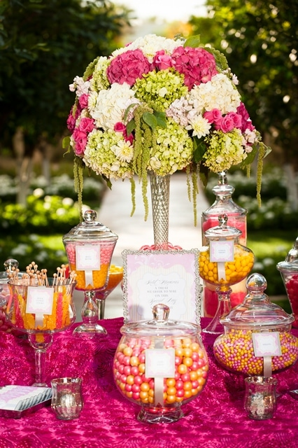 Pink and Orange Sweets Table