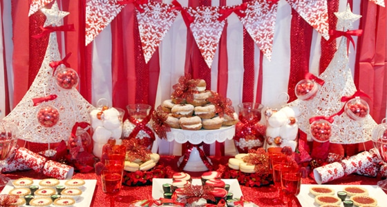 Red And White Holiday Dessert Table Pretty My Party