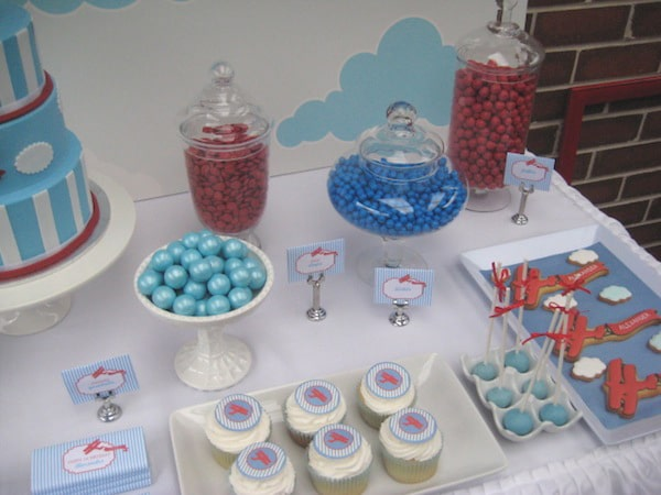 Vintage Airplane First Birthday Party Desserts and Candy