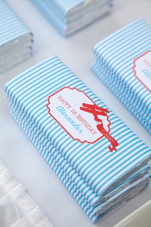 Airplane Chocolate Bar Party Favors