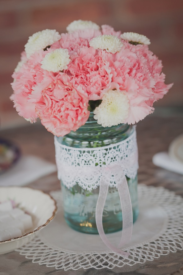Tea Party Bridal Shower Mason Jars Filled with Flowers - Table Centerpieces