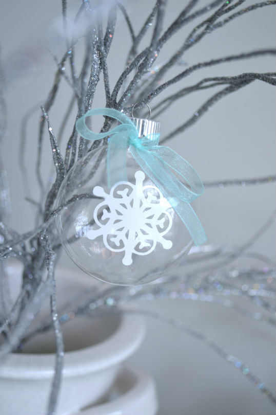 Silver Tree With Snowflake Ornament