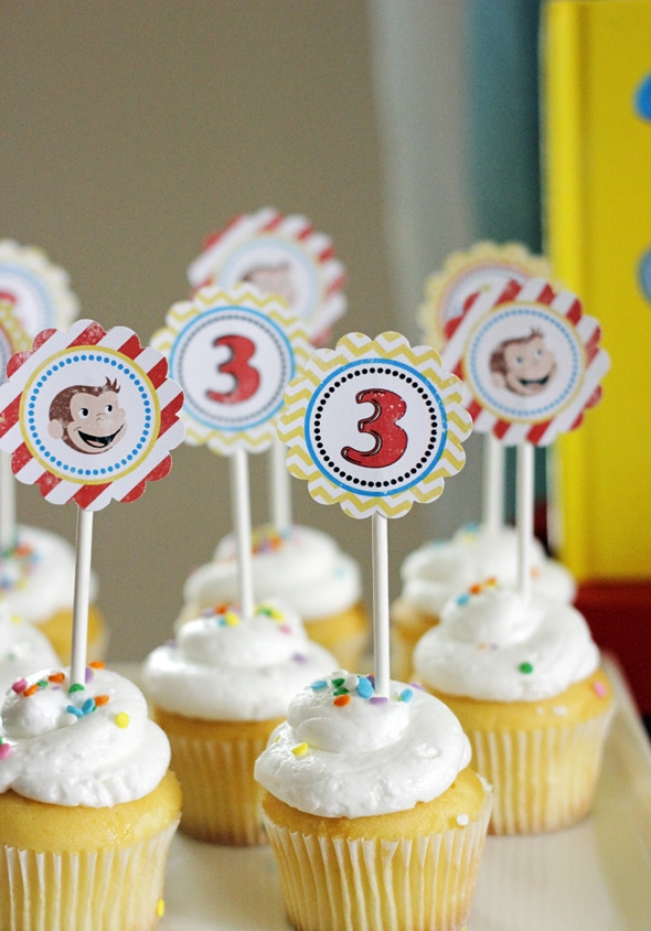 Curious George Birthday Cupcake Toppers