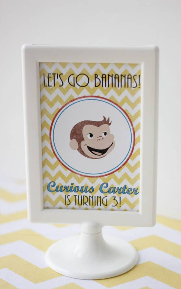 Curious George Birthday Let's Go Bananas Sign