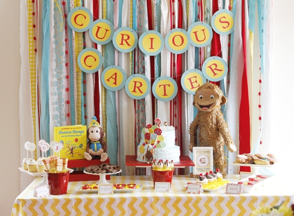 Curious George Birthday Dessert Table