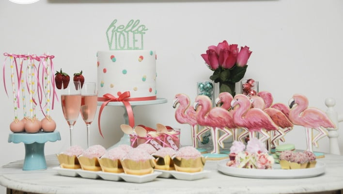 Flamingo Dessert Table Welcome Party