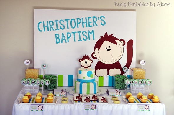 Monkey Themed Baptism Celebration
