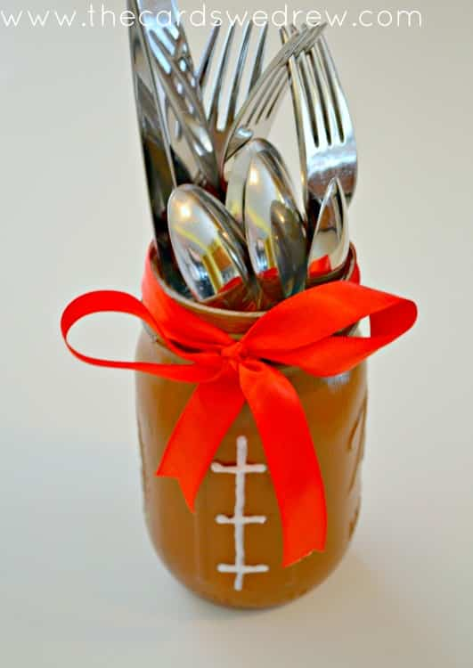 DIY Mason Jar Football Party Utensil Holder