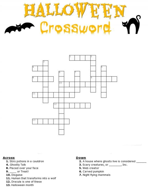 Fan image with halloween crossword puzzle printable