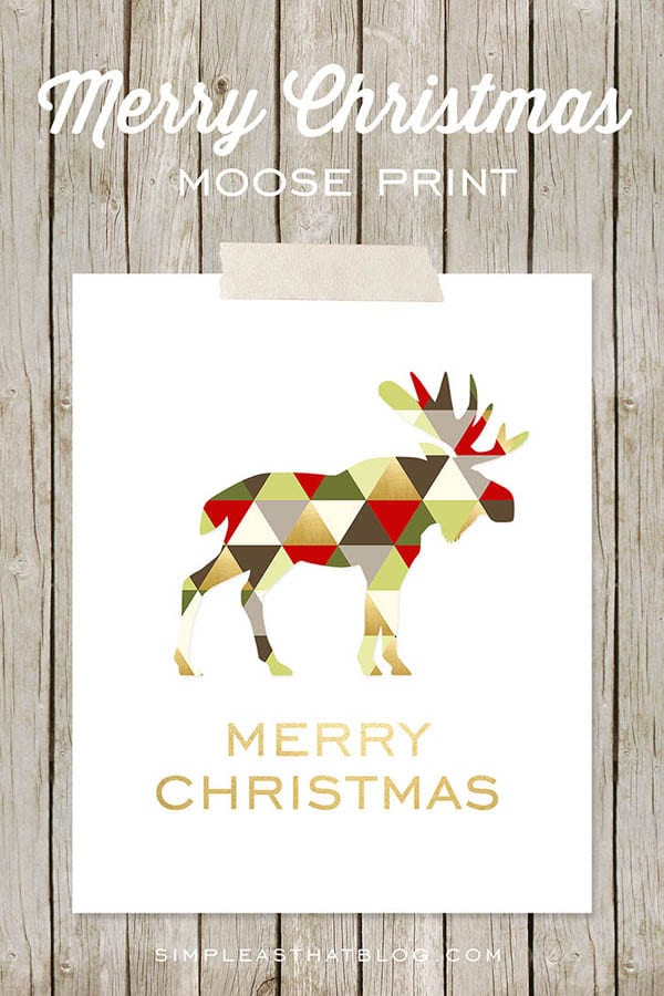 Free Moose Printable Christmas Printable