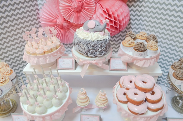 Pink And Grey Elephant Dessert Table Pretty My Party Party Ideas