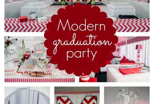 Modern Red Chevron Graduation Party