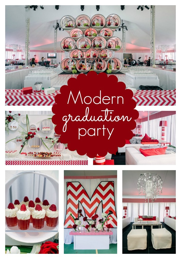 Modern Red Chevron Graduation Party Pretty My Party