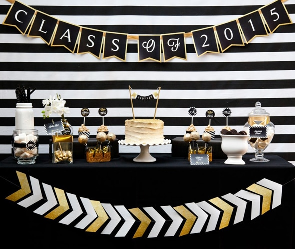 black-gold-graduation-dessert-table