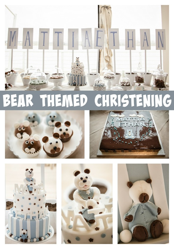 bear themed christening pretty my party party ideas