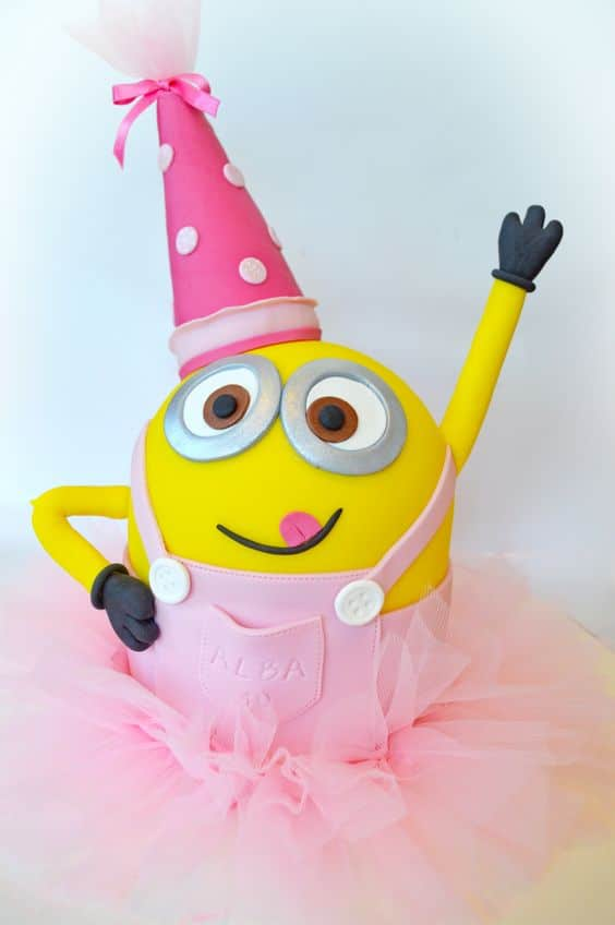Girly Minion Birthday Cake