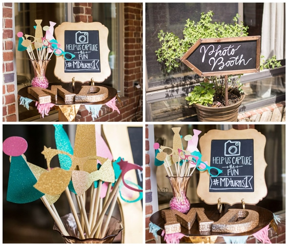 gold-glitter-first-birthday-photo-booth-idea