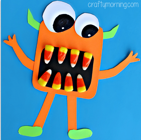 Candy Corn Monster Craft - Monster Birthday Party Ideas