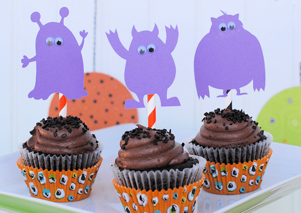Monster Birthday Party Cupcakes