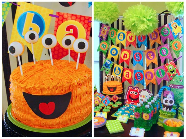 Monster Birthday Party Cake and Decorations