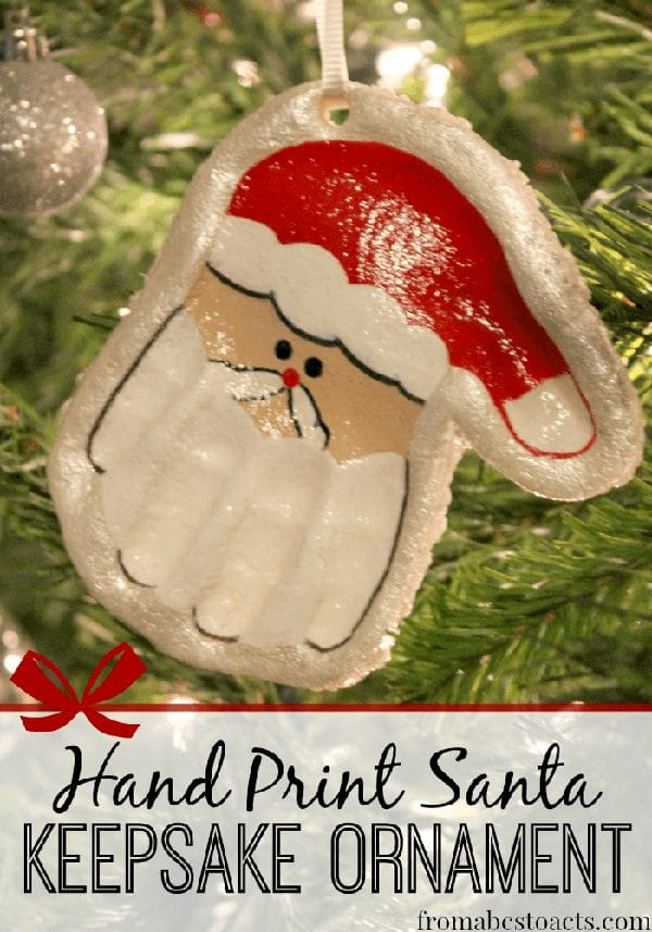 Salt Dough Hand Print Santa Ornament - 25 Super Creative DIY Ornaments