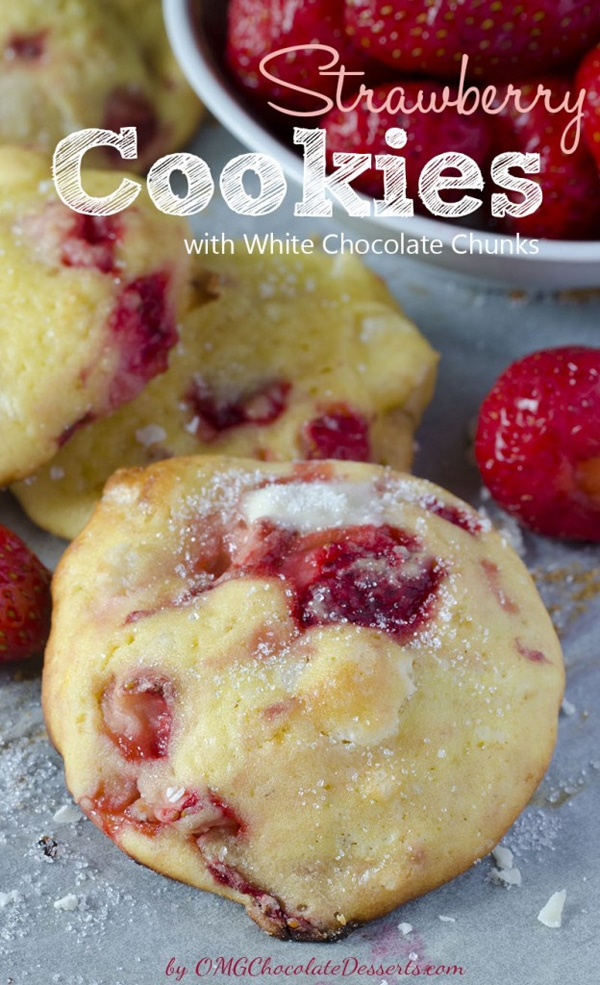 Strawberry White Chocolate Cookies - Christmas Cookies