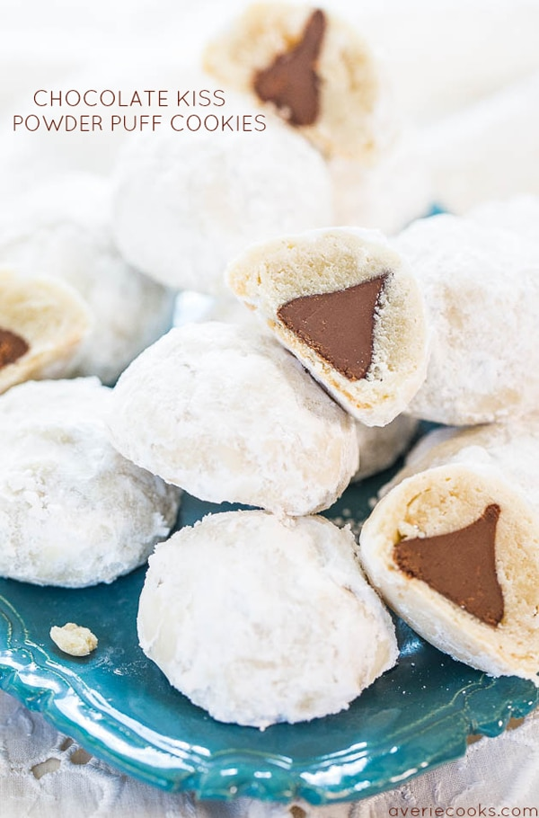 Chocolate Kiss Powder Puff Cookies - Best Christmas Cookies