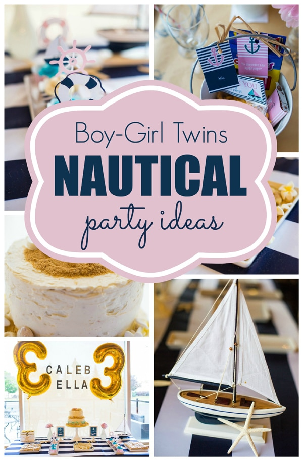 Twins Nautical Birthday Party Pretty My Party Party Ideas
