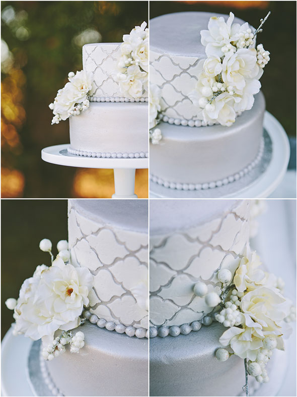 Silver-White-Holiday-Cake-Detail